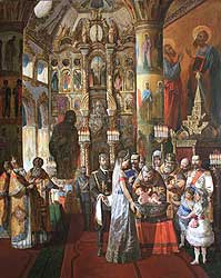 Christening of the Crown prince Aleksey, son of russian tsar Nicolas II