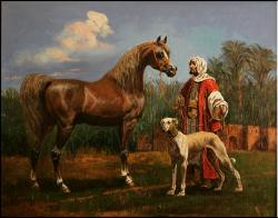 Etude. Arab with a Horse and Saluki